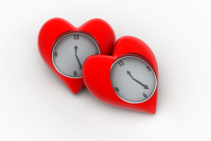 Clock with hearts