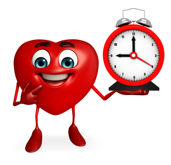 Heart Shape character with clock