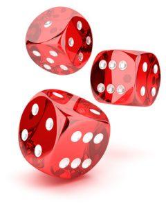 Red tranparent dices