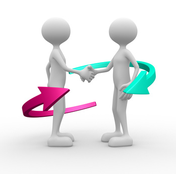 3d people - man, person and arrows - handshake.